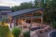 Pitched covered roof for an outdoor shade structure. Pavillion Backyard, Outdoor Pavilion, Outdoor Gazebos, Backyard Gazebo, Backyard Seating, Backyard Patio Designs, Pergola Patio, Outdoor Rooms, Backyard Landscaping