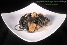 Spaghetti al nero di seppia con robiola e funghi, senza sale, giovanna in cucina