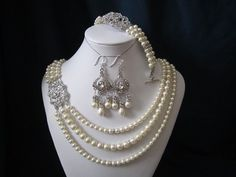 Athena complete set - triple strain necklace, bracelet, earrings with swarovski pearls and rhinestone brooch