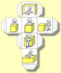 Divers Game - Practice position words with a sturdy box - Roll the dice and climb in, on, beside, in front of or behind. Turn this into word work by using words instead of pictures. Lots of fun exercise during language arts time.