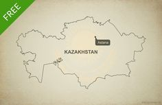 Free vector map of Kazakhstan outline Vector Map, Vector Free, Print Design, Web Design, Free Maps, Kazakhstan, Outline, Free Printables, Design Web