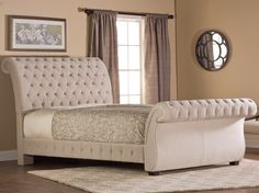 Bombay Fabric Upholstered Bed in Buckwheat by Hillsdale Furniture - Diamond Tufted Fabric Upholstery Sleigh Bed Bed Furniture, Hillsdale Furniture, Bed, Fabric Upholstered Bed, Furniture, Bed Styling, King Bedding Sets, Upholstered Beds, Bedroom Furniture