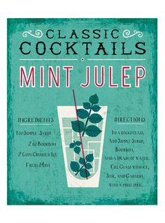 "Mint Julep Art Print Bar Themed Art - An illustrated guide to making a classic Mint Julep. - Illustration by Michael Mullan - Printed on 13x19"" archival, acid-free Epson Velvet Fine Art Paper - Shown"