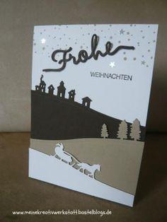 Weihnachtskarte Stampin up, Schlittenfahrt, Weihnachtliche Grüße,