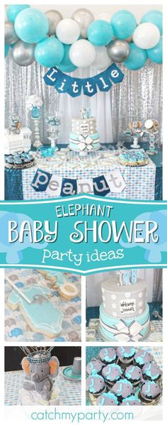 Take a look at this adorable elephant themed baby shower! The dessert table is i.- Take a look at this adorable elephant themed baby shower! The dessert table is i… Take a look at this adorable elephant themed baby… - Fiesta Baby Shower, Baby Shower Table, Boy Baby Shower Themes, Baby Shower Gifts, Shower Party, Baby Theme, Baby Shower Centerpieces Boy, Themed Baby Showers, Baby Boy Shower Decorations