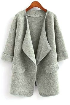 Pure Color Turn Down Collar Half Sleeve Cardigan