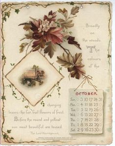 NOBLE THOUGHTS FROM WHITTIER CALENDAR FOR 1897. Print Calendar, Calendar Pages, Vintage Ephemera, Vintage Cards, Vintage Pictures, Vintage Images, Vintage Flowers, Vintage Floral, Vintage Calendar