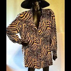 Silk long sleeve button down shirt Zebra print 100% silk shirt/jacket. Great dressed up or down dana b and Karen Tops Button Down Shirts