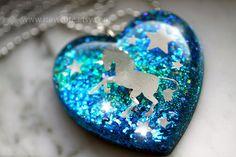 Sapphire Unicorn Necklace, Resin Jewelry, Blue Heart Statement Necklace, Glitter Heart, Unicorn Resin Pendant, Unicorn Jewelry by isewcute by isewcute on Etsy
