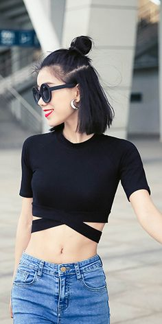 New Trend for 2016 Stylish Women's Knit Stitching clothing Sexy Slim Midriff Short-sleeved Top