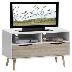 Meuble Banc TV Design GENOVA Décor Blanc Et Bois