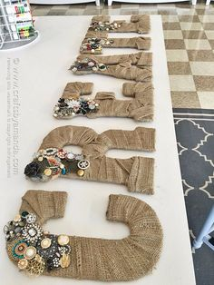 DIY Projects to Make and Sell on Etsy - Jeweled Burlap Letters - Learn How To…