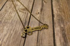 Stamped Key Charm Gold Blessed Necklace by ATwinkleOfLove on Etsy