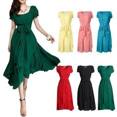 Lady Maxi Long Ball Gown Irregular Hem Puff Sleeve Party Dress Super Long Belt