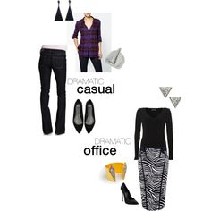 """""""Dramatic casual/Dramatic office"""" by paleopeach on Polyvore"""