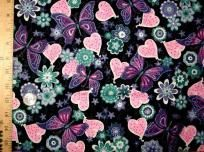 Butterfly and Hearts 4 Yard Pink & Purple Sew Quilt FABRIC Quilt Fabric 3 FREE PATTERNS SHIPS FREE