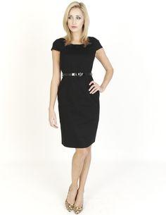Black Dresses - Belted Retro Black Dress - http://www.blackdresses.co.uk