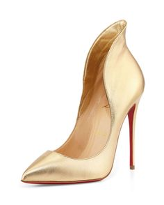 Christian Louboutin Mea Culpa Metallic Red Sole Pump, Light Gold |  $895 BUY ➜ http://shoespost.com/christian-louboutin-mea-culpa-metallic-red-sole-pump-light-gold/ Take a walk with these peep pumps from Christian Louboutin. It has a 4 1/2″ covered stiletto heel, pointed with low-dipped vamp, high-cut flared collar, leather lining and padded footbed and the signature Christian Louboutin red leather sole. These pumps will surely add just the right...