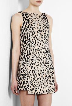 Sand Cheetah Print Shift Dress by Tibi