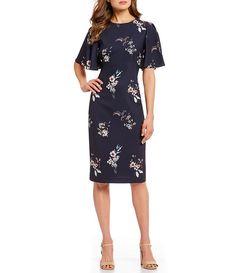 cdf050032f2 Antonio Melani Susanna Flutter Sleeve Floral Print Midi Dress