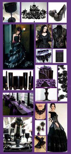 black purple wedding rock, Inspiration for a Glamorous Purple and Black Gothic Style Wedding Black Wedding Dresses, Purple Wedding, Dream Wedding, Black Weddings, Purple Black Wedding, Wedding Stuff, Wedding Flowers, Gothic Mode, Gothic Chic