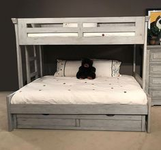 The Stonebrook Youth Bedroom Collection by American Woodcrafters was designed with kids and parents in mind. The collection features durable hardwood solids and veneers covered in a light distressed antique gray finish. The Stonebrook Youth Bedroom Collec Bunk Beds For Girls Room, Bunk Beds Small Room, Bunk Bed Rooms, Cool Bunk Beds, Bunk Beds With Stairs, Kid Beds, Bunk Bed Ideas For Small Rooms, Staircase Bunk Bed, Bedroom Small