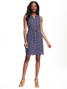 Patterned Tie-Waist Shirt Dress for Women