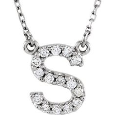 "14kt White Letter ""S"" 1/6 CTW Diamond 16"" Necklace. Find this and more great gifts for your grad at Thurber Jewelers, www.thurber.com #thurberjewelers #grad2016"