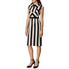 Karen Millen Striped Mock-Neck Dress ($340) ❤ liked on Polyvore featuring dresses, white striped dress, panel dress, stripe dress, sheath dress and white day dress