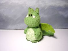 Handmade Needle felting fantasy green Dragon monster doll toy soft sculpture
