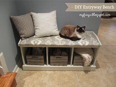 12 Incredible ideas for Cozy Benches - Cozy Corner Bench - Diy & Crafts Ideas Magazine Diy Furniture Chair, Diy Chair, Entryway Furniture, Entryway Bench Storage, Diy Bench, Entryway Ideas, Ikea Storage, Bench Seat, Corner Bench
