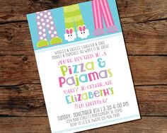 This Pizza & Pajamas Party invitation is perfect for you childs next birthday party! This is great for parents and children who want to have a fun party but not break the bank :) There are two color combinations to choose from: Purple/Pink/Blue or Green/Pink/Blue. **Do you need your invitation ASAP? I can do that! Just send me a quick message and make sure I can accomodate 24 hour turnaround at the time (I almost always can) and add this listing to your cart when you purchase the invitation…