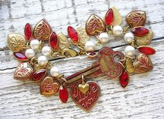 Antique Corbin Scrolled Key Red Patina Enamel Heart Charm Bracelet by TheVintageHeart