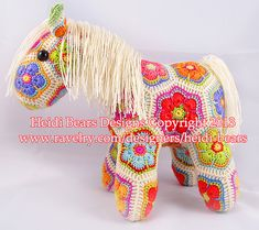 Ravelry: Fatty Lumpkin the Brave African Flower Pony Crochet Pattern pattern by Heidi Bears