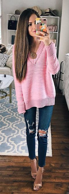 #summer #outfits Pink V-neck Knit + Destroyed Skinny Jeans