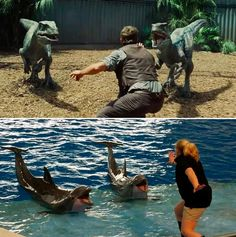 "In ""Jurassic World,"" raptor whisperer Chris Pratt holds out his arms to keep the beasts from attacking. Zoo workers everywhere are hilariously reenacting the pose with far less dangerous animals."