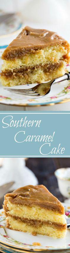 Southern Caramel Cake - moist, vanilla cake with lots of ultra-sweet caramel icing.