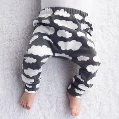 Grey Cloud Print Baby Leggings