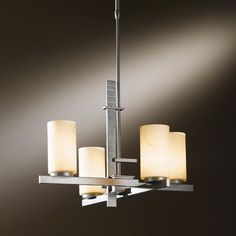 "Hubbardton Forge 4 Light Kitchen Island Pendant Finish: Natural lron, Shade Color: Opal, Stem Length: 40.2"" to 58.6"""