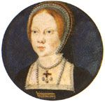 The Princess Mary Tudor, at about the age of nine, daughter of Henry VIII. and his Queen Catherine of Aragon. She would rule as Mary I. after the death of her brother Edward VI.