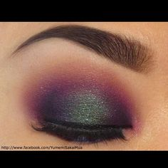 This is sooo perfect! Yumemi Sakai created a gorgeous colorful smoky eye using all Sugarpill eyeshadows. Love the Junebug on the center of the lid!