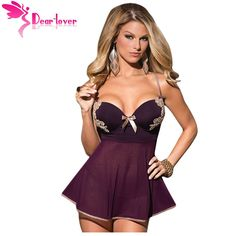 Dear Lover 2 PCS Microfiber and Mesh Babydoll Lingerie with Thong Women Sexy Sleepwear dress pajamas nightwear nighties LC22173