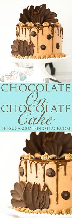Chocolate On Chocolate Cake recipe. Chocolatey rich cake covered in a blanket of creamy Chocolate Swiss Meringue Buttercream. Dripping with chocolate ganache and adorned by more chocolate.   thesugarcoatedcottage.com