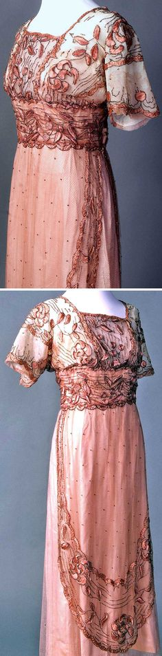 Circa 1911-1915 Evening dress, French. Silk embroidery floss on silk net. Bodice, lined with lightly boned taffeta, has sleeves cut in T-shape, kimono style. Gunmetal bead trim, attached in the Luneville or tambour method. Via Smith College Historic Clothing.