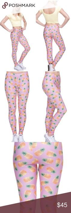 """Pink Pineapple Pants Pink Pineapple legging pants. One Size fits most. Very stretchy and comfortable material. 88% polyester, 12% spandex.  * Before asking, please note whatever sizes are listed below are all I currently have in stock.   ▫️Add to Bundle"""" to add more items in my closet or """"Buy"""" to checkout here with your size.  ↓Follow me on Instagram ↓         @ love.jen.marie Twilight Gypsy Collective Pants Leggings"""