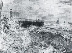 La Jetée de Fécamp par gros temps (C Monet - W 646),1881.