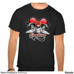 "Heart Cooking Tee Shirts For those who love to cook. I heart cooking culinary design featuring three chef skulls with hats and crossed cook's knives in front of a large red heart with the text ""Cooking"""