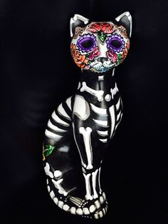 Day of The Dead Cat Sugar Skull Kitty Figure Statue Collectible OOAK Colorful | eBay