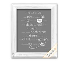 Adoption Poem Wall Art The Gift of Life Home by LostSockDesigns