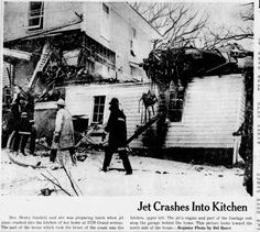 National guard jet crashed into house Dec 16, 1961. 5729 Grand Avenue, Des Moines, Iowa, about half way down hill, only the parakeet died